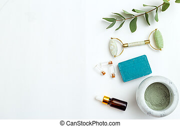 arrière-plan., produits, copie, organique, soin, espace, blanc, peau