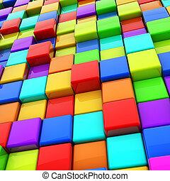 arrière-plan., résumé, cubes, coloré, 3d
