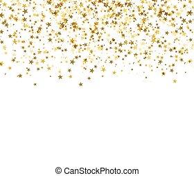 arrière-plan., résumé, starfall, blanc, or