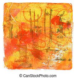 arrière-plan., résumé, toile, couleur, template., texture, acrylique, monotype, aquarelle, painting.