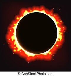 arrière-plan., résumé, vecteur, éclipse, solaire