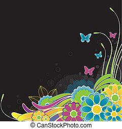 arrière-plan., résumé, vecteur, fleurs