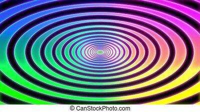 arrière-plan., résumés, conception, virtuel, spirale, réalité, avenir, arc-en-ciel, animation., seamless, psihodelic, boucle, tunnel 3d, render., 4k
