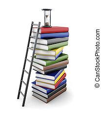arrière-plan., rendre, livres, conceptuel, blanc, piles, 3d