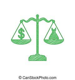 arrière-plan., robe, gribouiller, illustration., contour, icône, solide, dollar, balances., blanc vert, symbole
