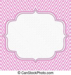 arrière-plan rose, cadre, zigzag, chevron, blanc