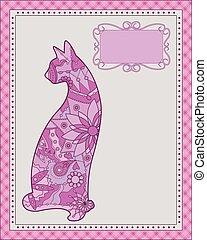 arrière-plan rose, chat