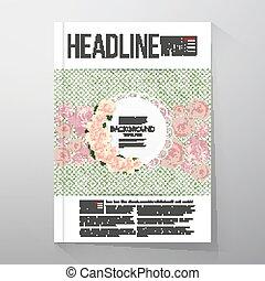 arrière-plan rose, pointillé, texte, sur, arrière-plan., vecteur, endroit, gabarit, floral, vert, fleurs, aviateur, ou, brochure