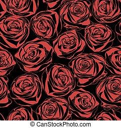 arrière-plan., roses, rouge noir, modèle