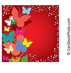 arrière-plan rouge, à, papillons, vecteur, illustration