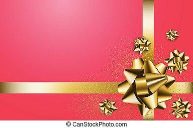 arrière-plan rouge, cadeau, arc or