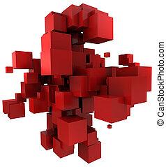 arrière-plan rouge, cubique