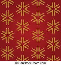 arrière-plan rouge, flocons neige, or, noël