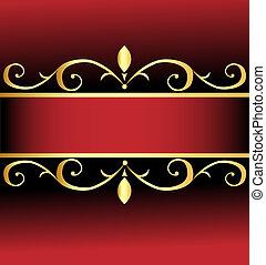 arrière-plan rouge, or, ornements, orné