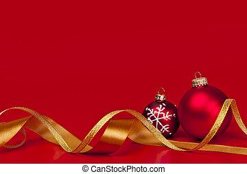 arrière-plan rouge, ornements, noël