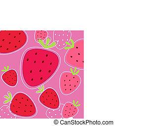 arrière-plan rouge, texture, fraise