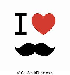 arrière-plan., simbol, vecteur, blanc, moustache