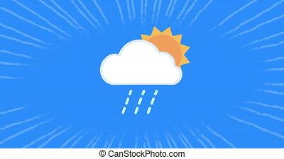 arrière-plan soleil, animation, raies, nuage, rotation, en mouvement, sur, boucle, blanc, seamless, bleu