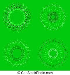 arrière-plan., spirographs, vert