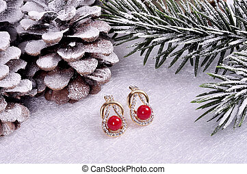 arrière-plan., stone.christmas, rouges, or, boucles oreille