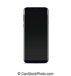 arrière-plan., téléphone, noir, vector., réaliste, blanc, intelligent