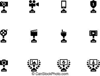 arrière-plan., tasse blanche, victoire, icônes