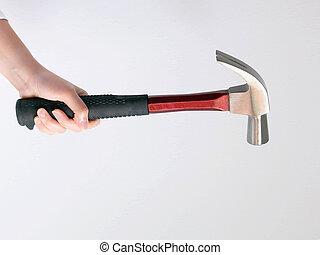arrière-plan., tenant main, blanc, marteau