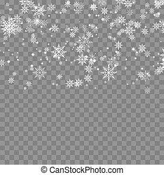 arrière-plan., tomber, flocons neige, vector., transparent