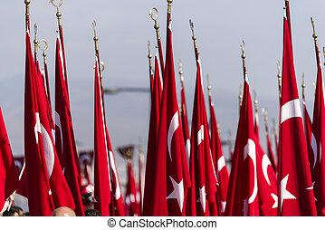 arrière-plan., turc, drapeaux, textured
