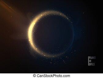 arrière-plan., univers, espace, éclipse, planète, stars.