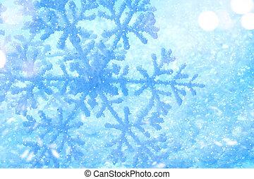 arrière-plan., vacances, hiver, neige, flocon de neige