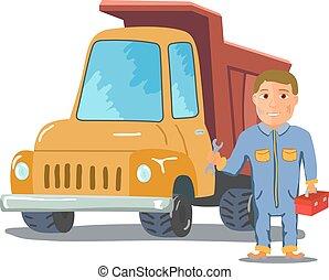 arrière-plan., vecteur, camion, mécanicien, blanc, dessin animé