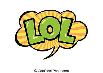 arrière-plan., vecteur, clair, comique, isolé, émotif, lol, coloré, blanc, dessin animé, bubble., style., parole, icône