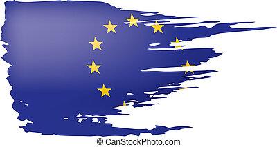 arrière-plan., vecteur, drapeau européen, blanc, illustration, union