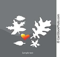 arrière-plan., vecteur, feuille, gris, illustration