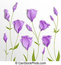 arrière-plan., vecteur, fleur, lilas, eustoma
