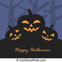 arrière-plan., vecteur, halloween, illustration, potirons