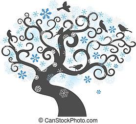 arrière-plan., vecteur, hiver arbre, illustration