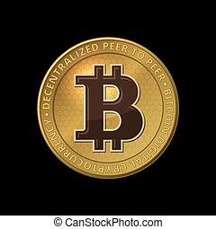 arrière-plan., vecteur, noir, bitcoin, monnaie