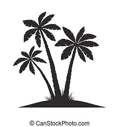 arrière-plan., vecteur, noir, paume, blanc, ensemble, illustration, arbres.