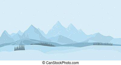 arrière-plan., vecteur, paysage hiver