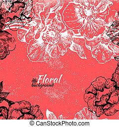 arrière-plan., vendange, illustration, main, roses, floral, dessiné