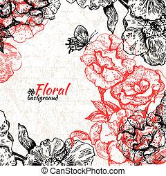 arrière-plan., vendange, illustration, main, roses, papillons, floral, dessiné