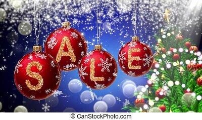 arrière-plan., vente, bannière, bokeh, balles, rond, 4k, noël, rouges, flocon, neige