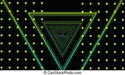 arrière-plan vert, eclats, triangles, noir, blanc, points, jaune, en mouvement