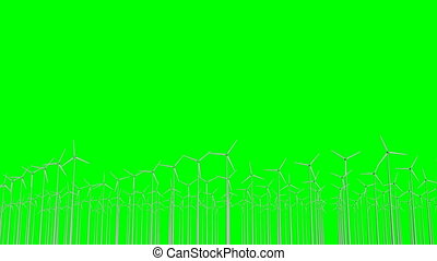 arrière-plan vert, futuriste, eco, windfarm, enroulez ...