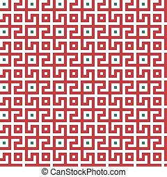 arrière-plan vert, rouges, géométrique, blanc, conception, pattern., seamless, labyrinthe, résumé