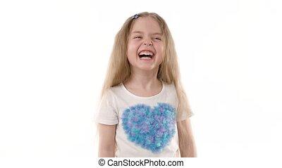 arrière-plan., vidéo, enfant riant, portrait, girl, blanc, heureux