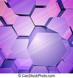 arrière-plan., violet, brillant, hexagones