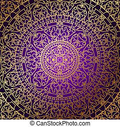 arrière-plan violet, or, ornamen